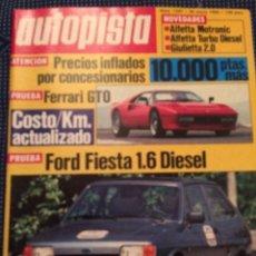 Coches: REVISTA AUTOPISTA N. 1297 DE 1984 FORD FIESTA FERRARI GTO. Lote 82787248