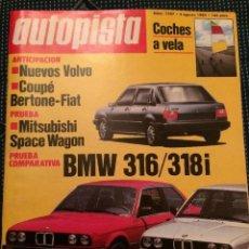 Coches: REVISTA AUTOPISTA N. 1307 DE 1984 BMW 316 318 FIAT BERTONE. Lote 82787580