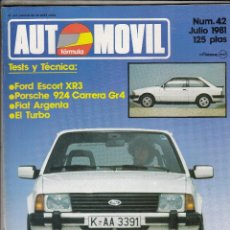 Coches: REVISTA AUTOMOVIL Nº 42 AÑO 1981. TEST: FORD ESCORT XR3. RACING: PORSCHE 924 CARRERA TURBO GR. 4.. Lote 86499474