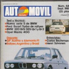 Coches: REVISTA AUTOMOVIL Nº 44 AÑO 1981. TEST: OPEL MANTA 400. GAMA:BMW 320 GR5,BMW 323I GR1 Y BMW 323I GR2. Lote 86499536