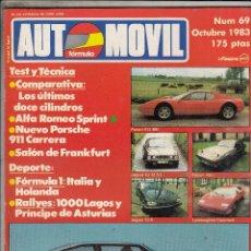 Coches: REVISTA AUTOMOVIL Nº 69 AÑO 1983. PRUEBA: ALFA ROMEO SPRINT 1.2 QUADRIGOGLIO VERDE. ASA 1000 GT.. Lote 82753112