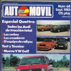 Coches: REVISTA AUTOMOVIL Nº 68 AÑO 1983. PRUEBA VW GOLF. AUDI 200 TURBO. COMP: AUDI 80 QUATTRO TURBO. Lote 82753452
