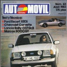 Coches: REVISTA AUTOMOVIL Nº 63 AÑO 1983. PRUEBA: FORD ESCORT XR3I. CHEVROLET CORVETTE. MARCOS 3000 GT.. Lote 82754464