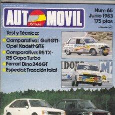 Coches: REVISTA AUTOMOVIL Nº 65 AÑO 1983.PRU: FERRARI DINO 246 GT.COMP: RENAULT 5 TX Y RENAULT 5 COPA TURBO.. Lote 82754916