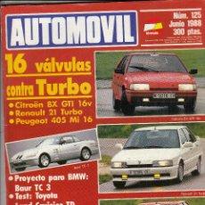 Coches: REVISTA AUTOMOVIL Nº 125 AÑO 1988.PRU: TOYOTA LAND CRUISER TD.COMP: CITROEN BX GTI 16V, RENAULT 21 T. Lote 109463955