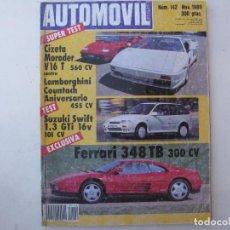 Coches: REVISTA AUTOMOVIL FORMULA Nº 142 - FOTO SUMARIO - SUZUKI SWIFT 1.3 GTI 16V 101 CV - COUNTACH. Lote 85135856