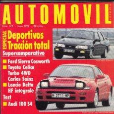 Coches: REVISTA AUTOMOVIL Nº 173 AÑO 1992. PRUEBA: AUDI 100 4S. COMPARATIVA: FORD SIERRA COSWORTH,. Lote 183601826