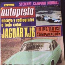 Coches: REVISTA AUTOPISTA N. 553 DE SEPTIEMBRE 1969 JAGUAR XJ6 COMPARATIVA FIAT 124 S Y SEAT 1430. Lote 88311920