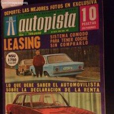 Coches: REVISTA AUTOPISTA N. 48( DE MAYO 1968 MINI 1000 BMC PEUGEOT 504. Lote 88736063