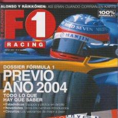 Coches: REVISTA F1 RACING Nº 61, 98 PAGS ALONSO Y RÄIKKÖNEN, DOSSIER F1 PREVIO AÑO 2004, AÑO 2004. Lote 98822655