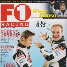 Coches: REVISTA F1 RACING Nº 84,98 PAGS RUBENS VS JENSON, EFECTO ALONSO ¿QUIEN LE ACOMPAÑA EN 2007? AÑO 2006. Lote 93335920
