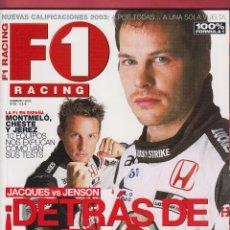 Coches: REVISTA F1 RACING Nº 48,98 PAGS , LA F1 ESPAÑA MONTMELO, CHESTE Y JEREZ. JACQUES VS JENSON. AÑO 2003. Lote 93489125