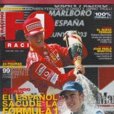 Coches: REVISTA F1 RACING Nº 52,98 PAGS , FERNANDO ALONSO SACUDE LA F1, ENTREVISTA A JP MONTOYA AÑO 2003. Lote 93504755