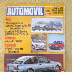 Coches: AUTOMOVIL Nº 87 - ABRIL 1985 - REVISTA / VELOCIDAD / RALLYE / FORMULA. Lote 93604405