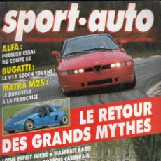 Coches: REVISTA SPORT AUTO Nº 328 AÑO 1989. PRU: TOYOTA CELICA TURBO 4WD. OTUS ESPRIT TURBO. JASERATI KARIF.. Lote 95118999