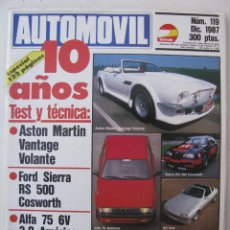 Coches: REVISTA AUTOMOVIL FORMULA Nº 119 - FOTO SUMARIO - FORD SIERRA RS 500 COSWORTH - ALFA 75 3.0 - AC ACE. Lote 97085031