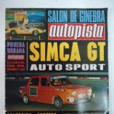 Coches: AUTOPISTA Nº 632 - JAGUAR E / 4 HORAS MONZA / SUBIDA GALAPAGAR / SIMCA GT / SALON GINEBRA. Lote 97766639