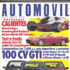 Coches: REVISTA AUTOMOVIL Nº 217 AÑO 1996.PRU:HONDA CIVIC VTI.ALFA 145 QUADRIFOGLIO.CO:FIAT BRAVO 1.6V SX.. Lote 180840020