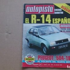 Coches: REVISTA AUTOPISTA N 1014 JULIO 1978. Lote 98635643