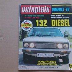 Coches: REVISTA AUTOPISTA N 1018 SEPTIEMBRE 1978. Lote 98636355