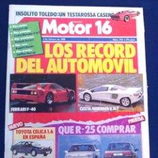 Coches: REVISTA MOTOR 16, Nº 276. 4 DE FEBRERO 1989. LOS RECORDS DEL AUTOMÓVIL. FERRAFI, TOYOTA, MONTECARLO.. Lote 98789171