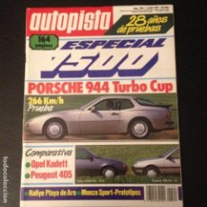 Coches: AUTOPISTA Nº 1500 - PORSCHE 944 TURBO CUP OPEL KADETT GL 1.6 S PEUGEOT 405 RALLYE ESPECIAL 1500. Lote 98802051