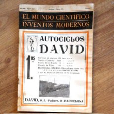 Coches: CYCLECAR AUTOCICLOS DAVID AÑO 1916 - REVISTA INVENTOS MODERNOS CON ARTÍCULO + DESPLEGABLE DEL COCHE. Lote 99881359