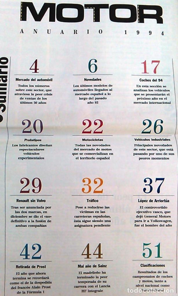 Coches: El Mundo. Anuario 1994 del motor. Coches de 1, Rally, Fórmula 1, Motocicletas. Suplemento. - Foto 2 - 99891835