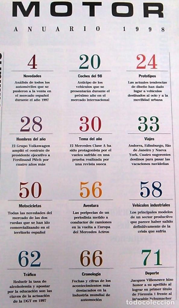 Coches: El Mundo. Anuario 1998 del motor. Coches de 1, Rally, Fórmula 1. Modelos automóvil de los años 90. - Foto 2 - 100276203