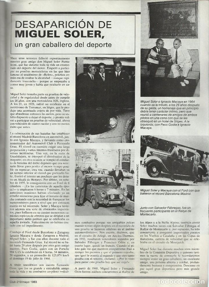 Coches: REVISTA CLUB, Nº 219, MAYO 1983. RACC, REAL AUTOMOVIL CLUB DE CATALUNYA - Foto 2 - 101207975