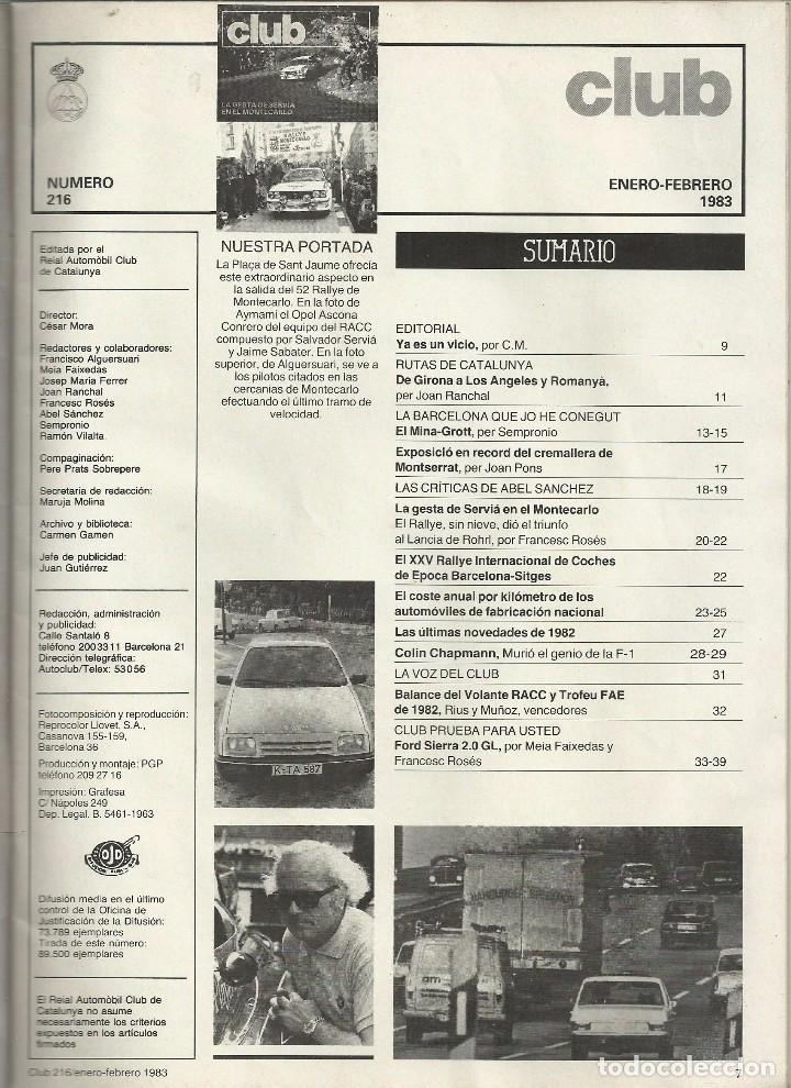 Coches: REVISTA CLUB, Nº 216, ENERO - FEBRERO 1983. RACC, REAL AUTOMOVIL CLUB DE CATALUNYA - Foto 2 - 101209075