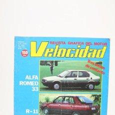 Coches: REVISTA DE COCHES VELOCIDAD - ALFA ROMEO 33, R-11, FIAT UNO DIESEL Nº 1.132 - JUNIO 1983. Lote 101841331