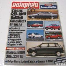 Coches: REVISTA AUTOPISTA 1987:ALFA ROMEO 75 V6 AMERICA; PEUGEOT 505 V6; OPEL OMEGA 3000; PEUGEOT 405 SRI ... Lote 102749127