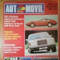 Coches: REVISTA AUTOMÓVIL FÓRMULA ENERO 1982. Lote 107604738