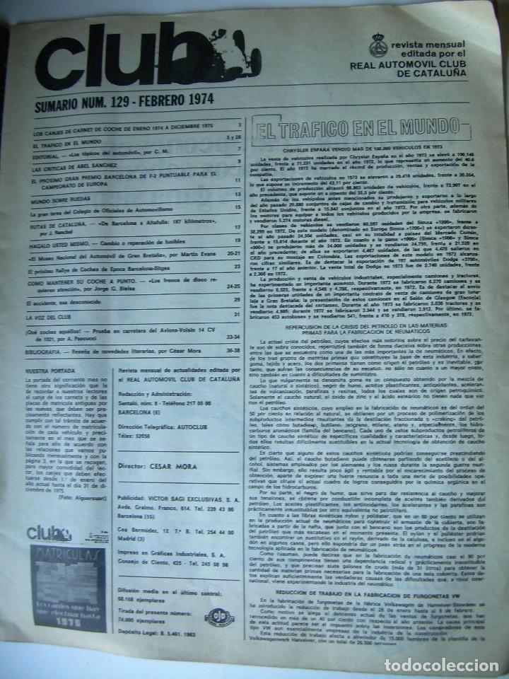 Coches: REVISTA CLUB, Nº 129, FEBRERO 1974. RACC, REAL AUTOMOVIL CLUB DE CATALUNYA. MATRICULAS - Foto 3 - 107733511