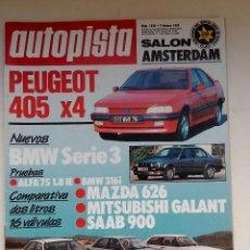 Coches: REVISTA AUTOPISTA Nº 1543 - FOTO SUMARIO - BMW 316I - ALFA 75 1.8IE - GALANT 2.0 GTI - MAZDA 626 2.0. Lote 114487355
