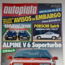 Coches: REVISTA AUTOPISTA Nº 1481- FOTO SUMARIO - PORSCHE 924 SPIRIT - BMW 318 IE - BMW 318 IS. Lote 114488951