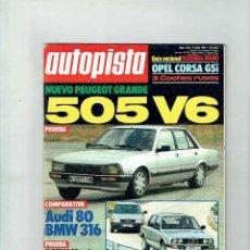 Coches: REVISTA AUTOPISTA Nº 1462- PEUGEOT 505 V6. Lote 115567711