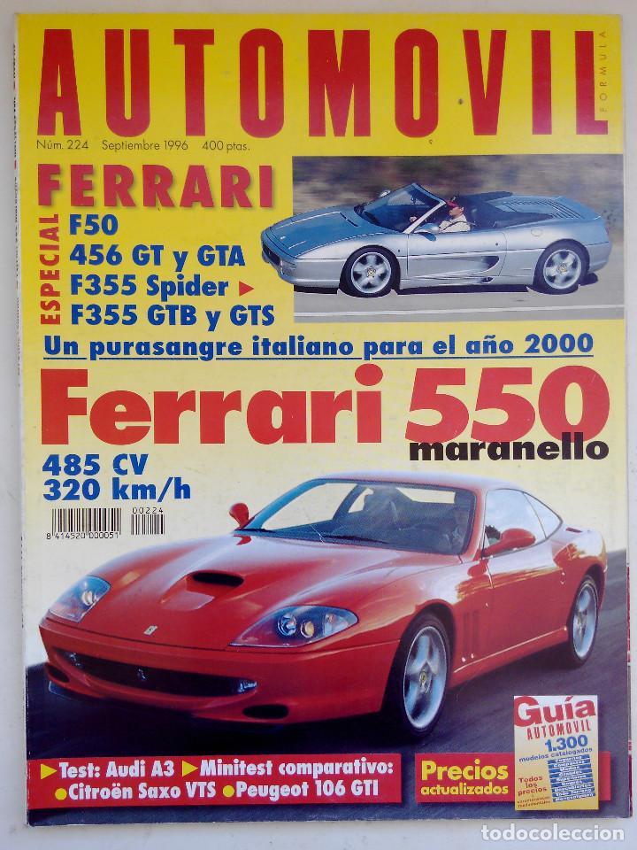 REVISTA AUTOMOVIL Nº 224 - FOTO SUMARIO- FERRARI F50 - 456 GT - F355 SPIDER - GTS - 550 MARANELLO (Coches y Motocicletas Antiguas y Clásicas - Revistas de Coches)