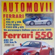 Carros: REVISTA AUTOMOVIL Nº 224 - FOTO SUMARIO- FERRARI F50 - 456 GT - F355 SPIDER - GTS - 550 MARANELLO. Lote 116086947
