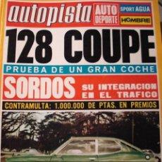 Carros: REVISTA AUTOPISTA 708 FIAT SEAT 128 COUPE - RENAULT DAUPHINE GORDINI ASTURCON. Lote 147500732