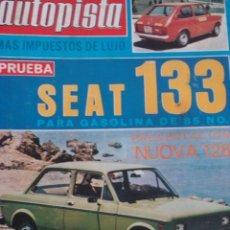 Coches: REVISTA AUTOPISTA 906 SEAT 128 COUPE -SEAT 133 PRUEBA - LE MANS. Lote 118743123