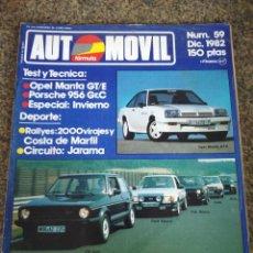 Coches: REVISTA AUTOMOVIL - Nº 59 - DIC. 1982 -- OPEL MANTA GT E / PORSCHE 956 GR,C / ESPECIAL INVIERNO --. Lote 143148008