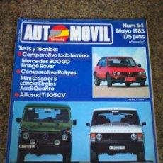 Coches: REVISTA AUTOMOVIL - Nº 64 - MAYO 1983 -- MERCEDES 300 GD RANGE ROVER / MINI COOPER S / LANCIA STRATO. Lote 122936555