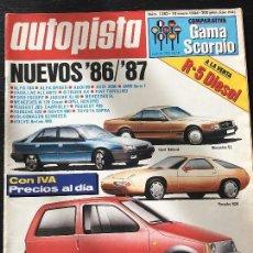 Coches: AUTOPISTA Nº 1383 - ENERO 1986 - ALFA 75 TD - RENAULT 5 - CITROEN BX - RENAULT TRAFIC - FORD SCORPIO. Lote 124299163