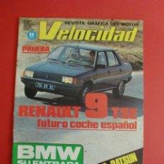 Coches: VELOCIDAD Nº 1054 21/11/1981 RENAULT 9 TSE - NISSAN SUNNY - BMW EN F-1 - X SUBIDA DE LOS CUCHILLOS. Lote 125220479