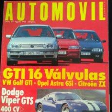 Voitures: REVISTA AUTOMÓVIL NÚMERO 187 AGOSTO 1993 . GTI 16 VÁLVULAS DOGE VIPER GTS. . Lote 131678002