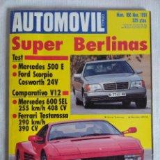 Coches: REVISTA AUTOMOVIL Nº166/SUPER BERLINAS-FERRARI TESTAROSSA/REPORTAJE SCALEXTRIC.. Lote 134217638