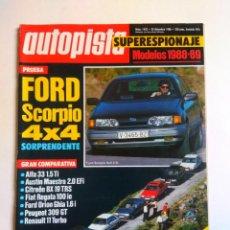 Coches: REVISTA AUTOPISTA Nº 1432 FORD SCORPIO CITROEN BX CX RENAULT 11 TURBO 25 V6 AUDI 200 LANCIA THEMA . Lote 135461238