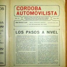 Coches: CÓRDOBA AUTOMOVILISTA. AÑO XI ; NÚM. 220 ; 1º DE DICIEMBRE DE 1933 / DIRECTOR: FRANCISCO QUESADA. Lote 139512898